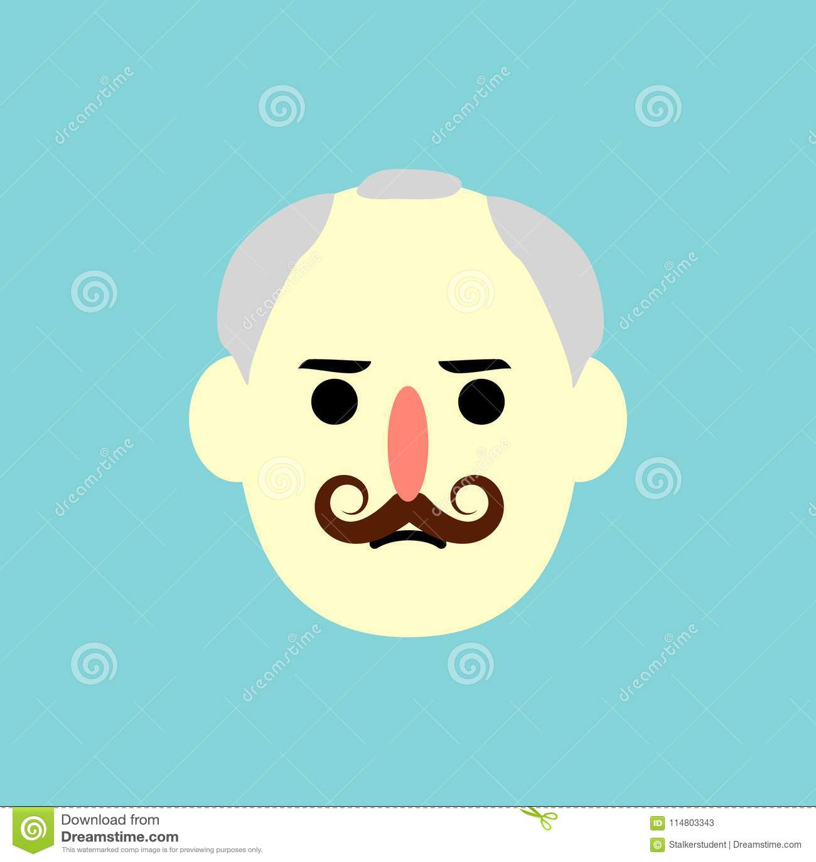 Man Face Flat Design Vector Illustration Stock Vector