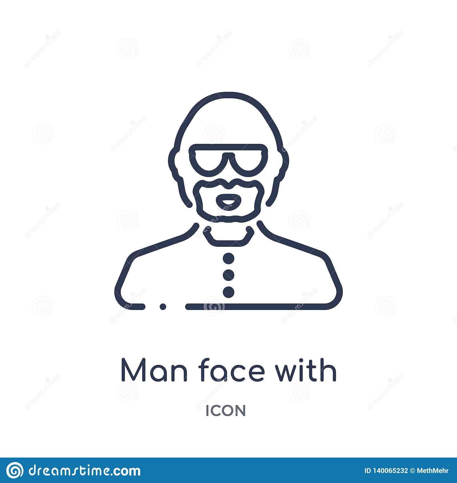 man face with glasses and goatee icon from people outline collection. Thin line man face with glasses and goatee icon isolated on