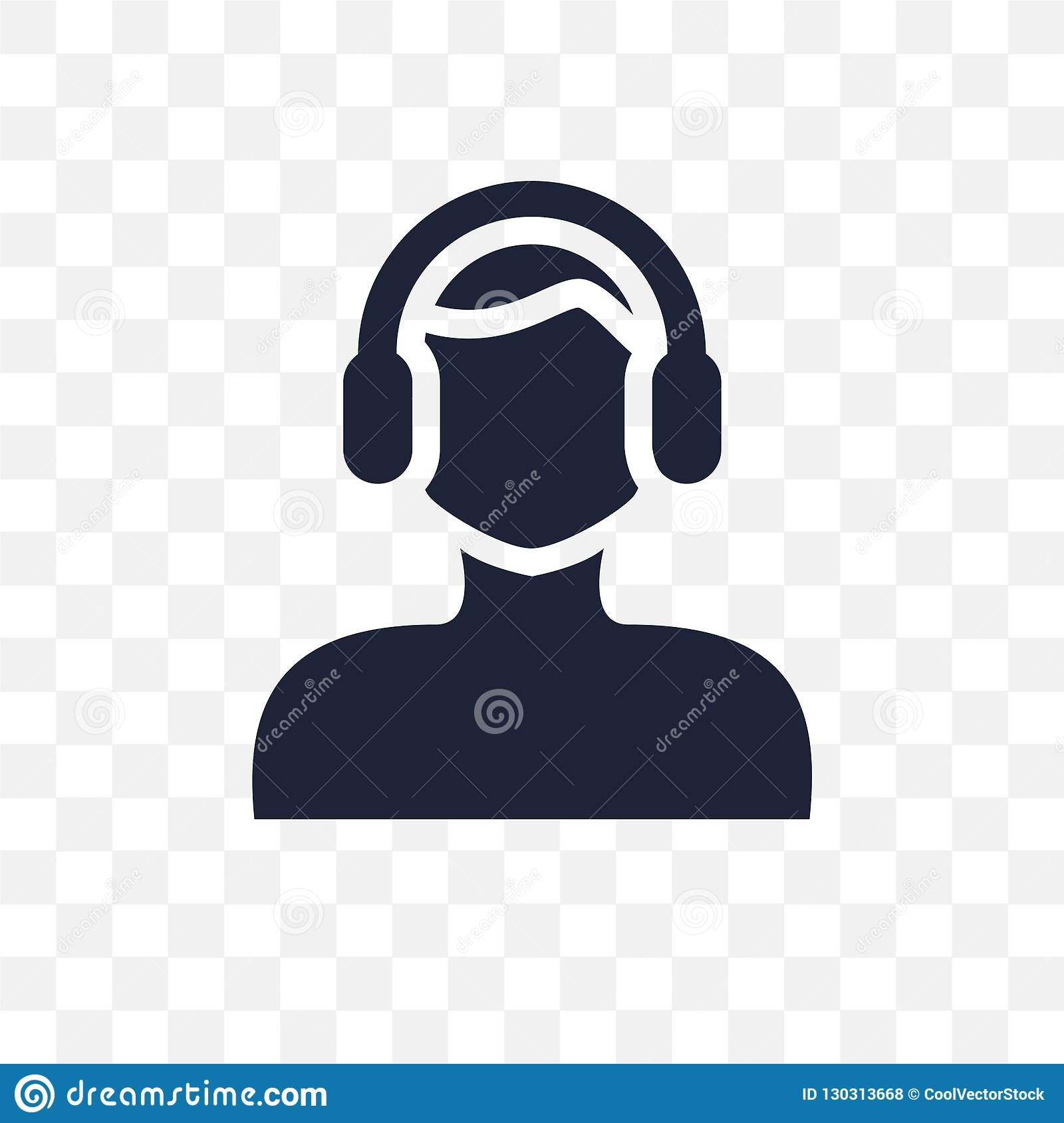 Man face with headphones transparent icon. Man face with headphones symbol design from People collection.