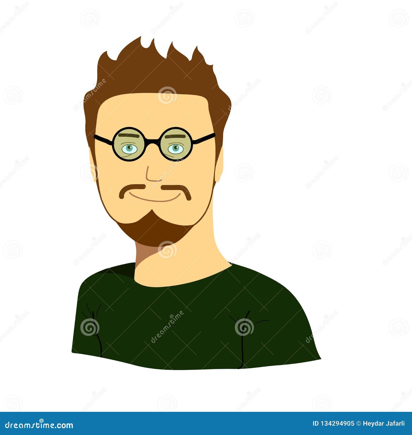 Developer Avatar: Male IT Programmer Accessing Internet On Laptop Cartoon