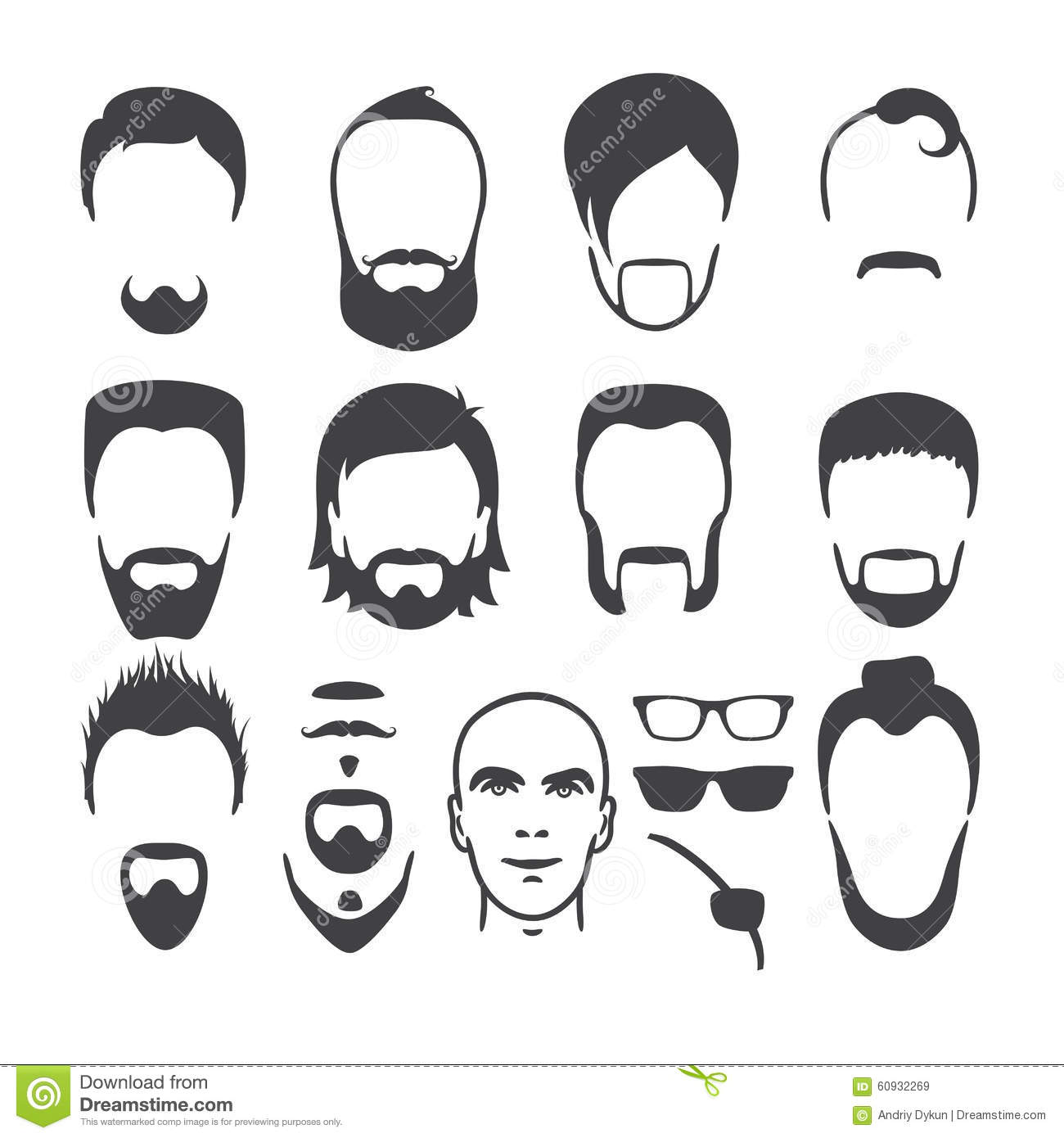 Surprising Man Face Set Stock Vector Illustration Of Bald Hipster 60932269 Natural Hairstyles Runnerswayorg