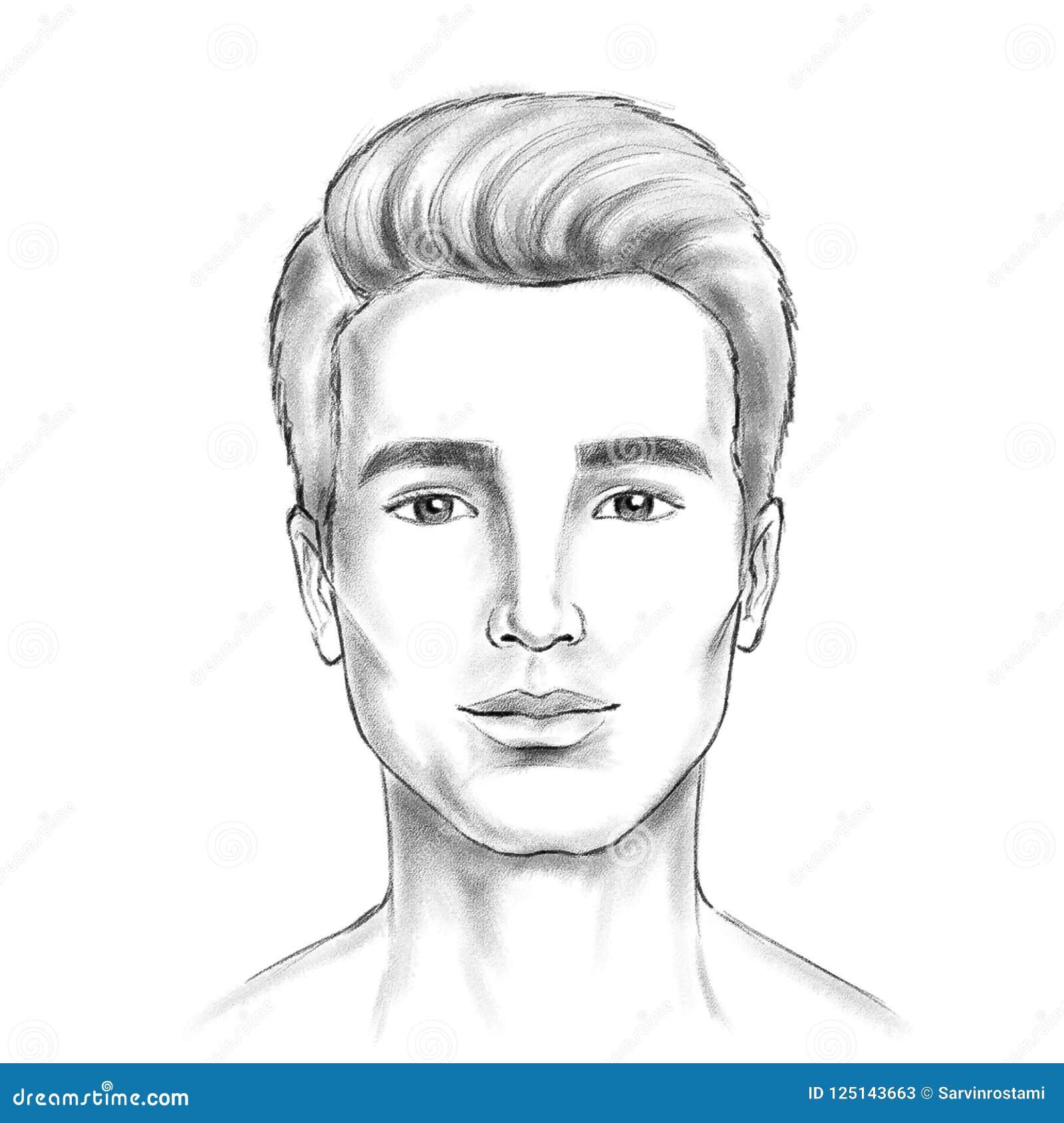 Man face sketch artwork digital painting look likes pencil