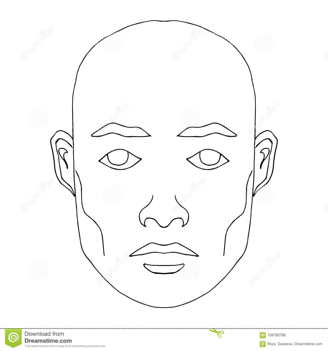 Man face hand drawn fashion model clip art of young man with blank expression looking at camera easy editable illustration isolated on white background