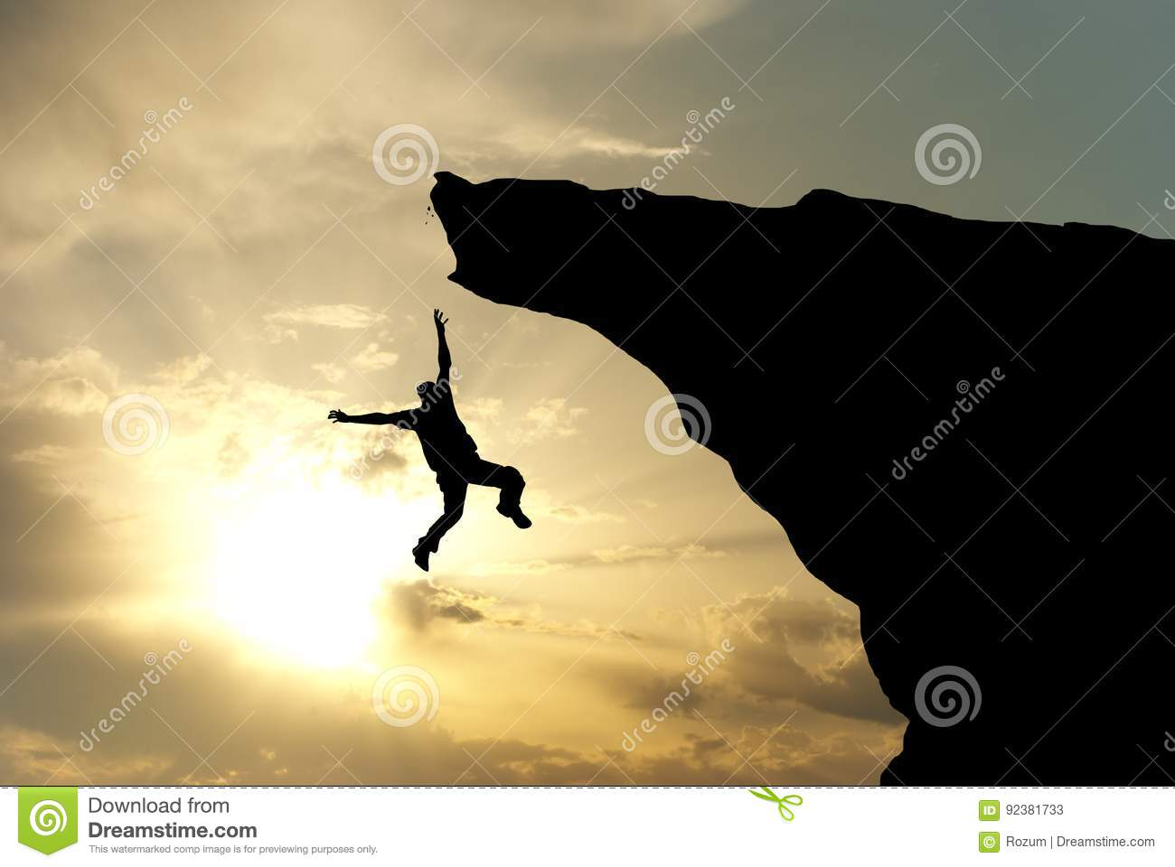 Man falling from the mountain