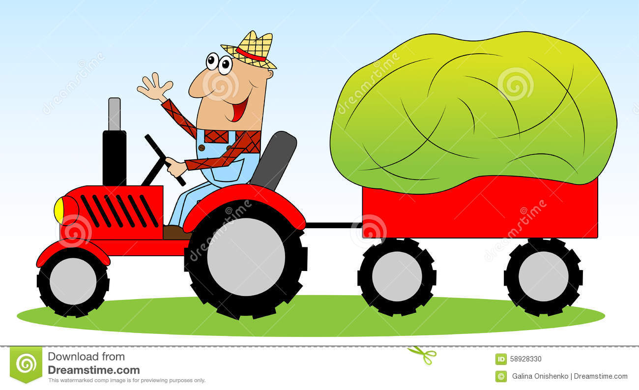 Drawing Man On Tractor : The man is a farmer on tractor driven hay for animals