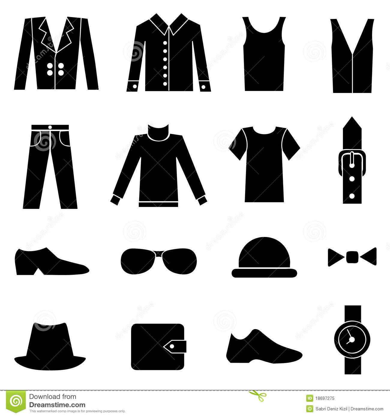 Man Fashion And Clothes Icons Stock Vector Illustration