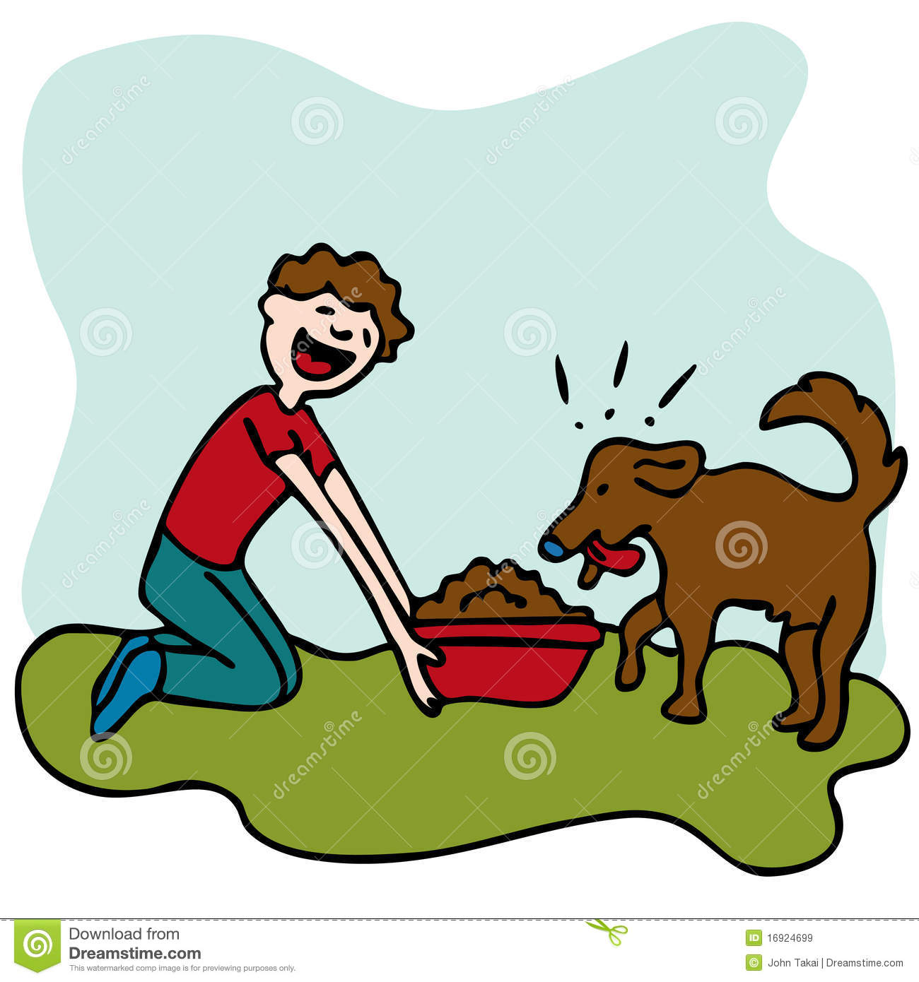 Man Feeding Dog Food stock vector. Illustration of cartoon ...