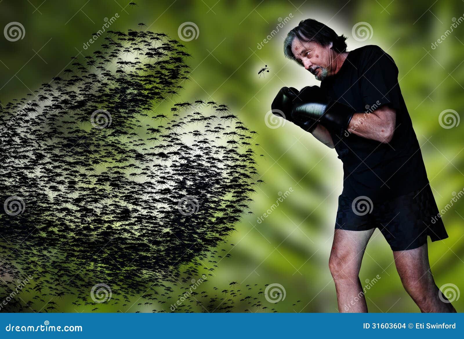 Man fighting mosquito