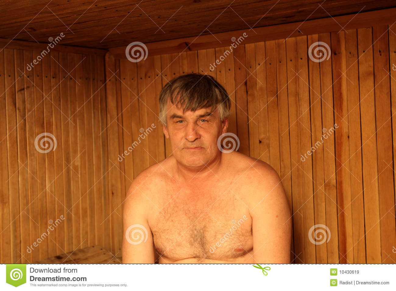 Old man nude in sauna
