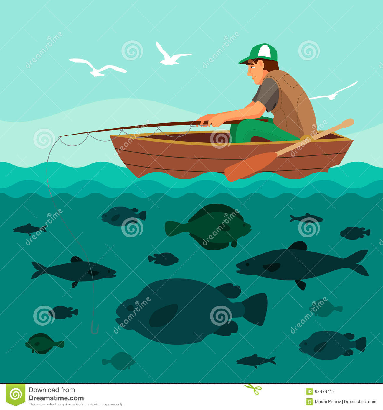 Man fishing on the boat lots of fish stock vector for Lot of fish