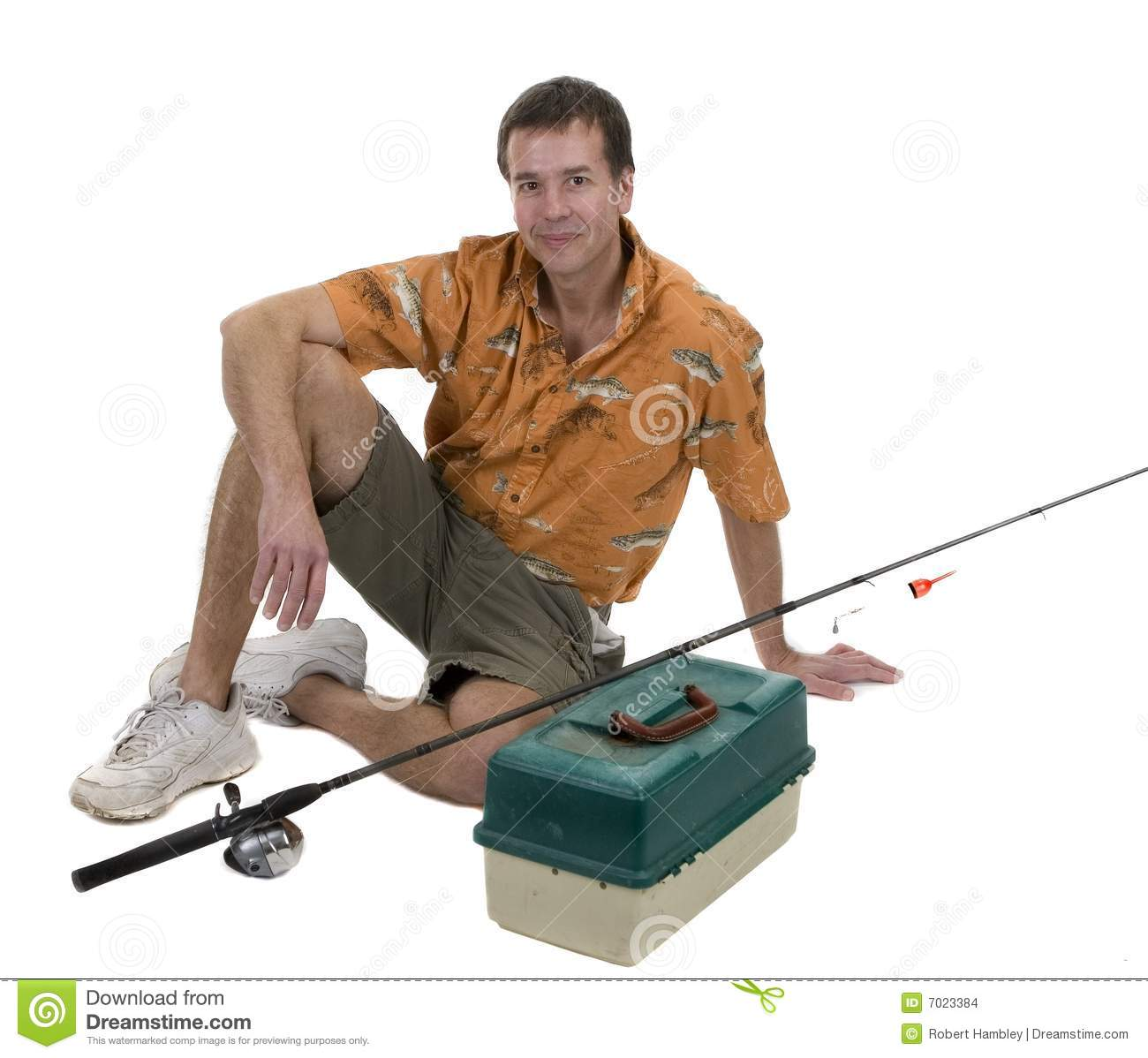 Man with fishing gear stock images image 7023384 for Z man fishing products