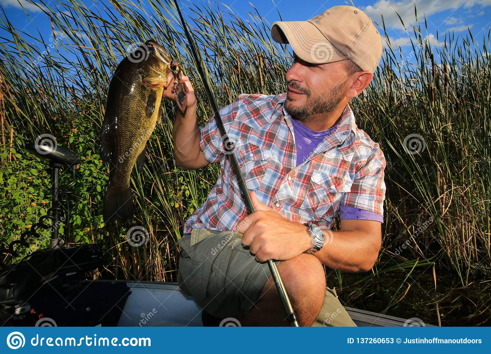 Man Fishing Large Mouth Largemouth Bass