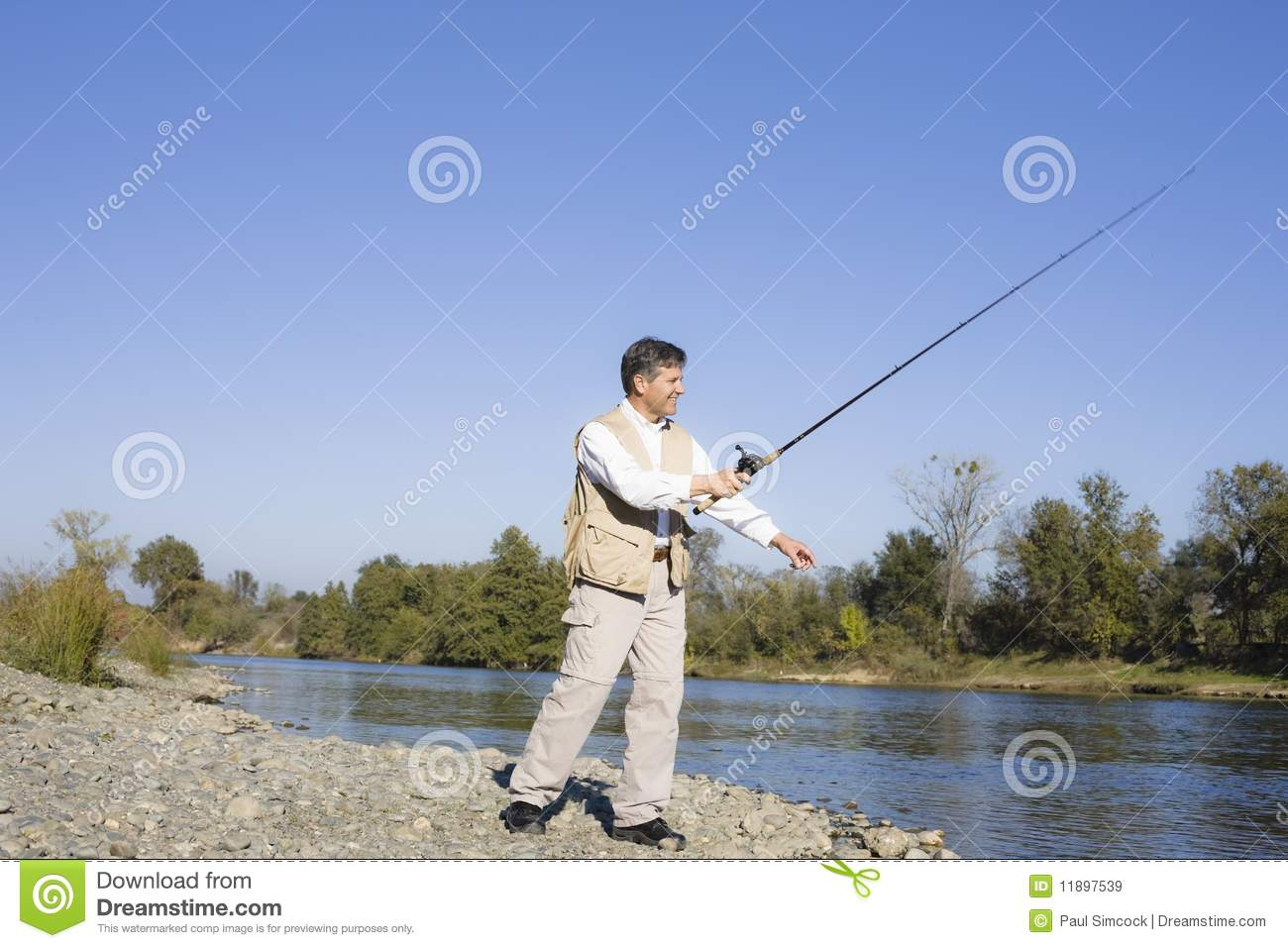 Man fishing in river royalty free stock images image for River fishing pole