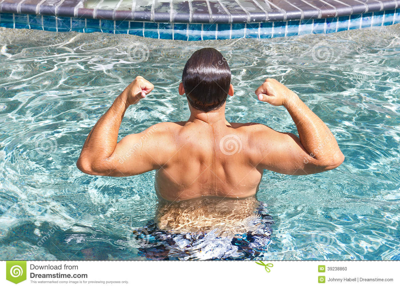 Man flexing pool stock photo image 39238860 for Pool man show