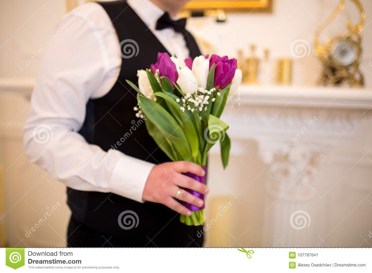 Man with flower bouquet stock image image of branch 107787641 download man with flower bouquet stock image image of branch 107787641 izmirmasajfo