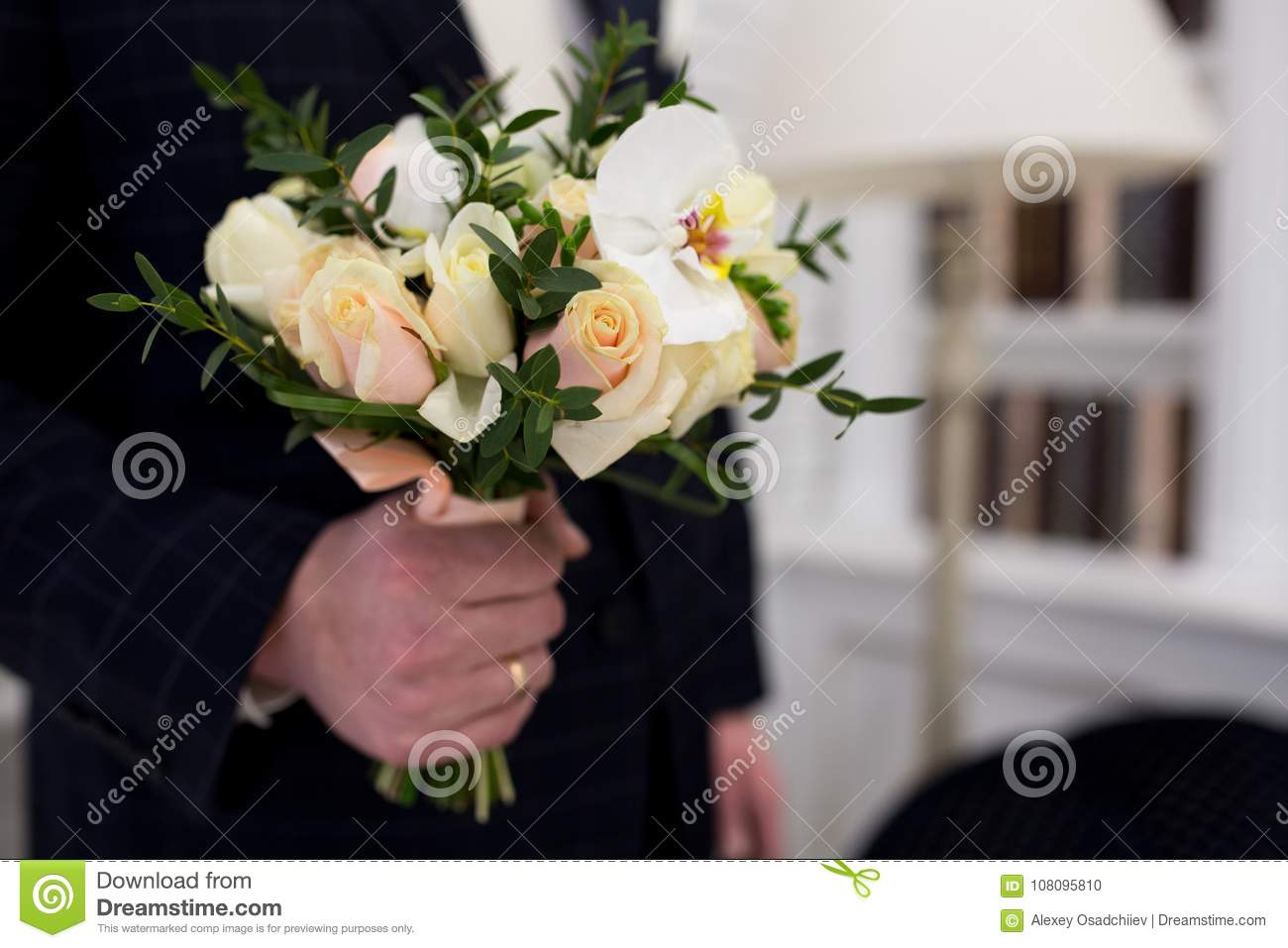 Man with flower bouquet stock photo image of holiday 108095810 man with flower bouquet izmirmasajfo Gallery