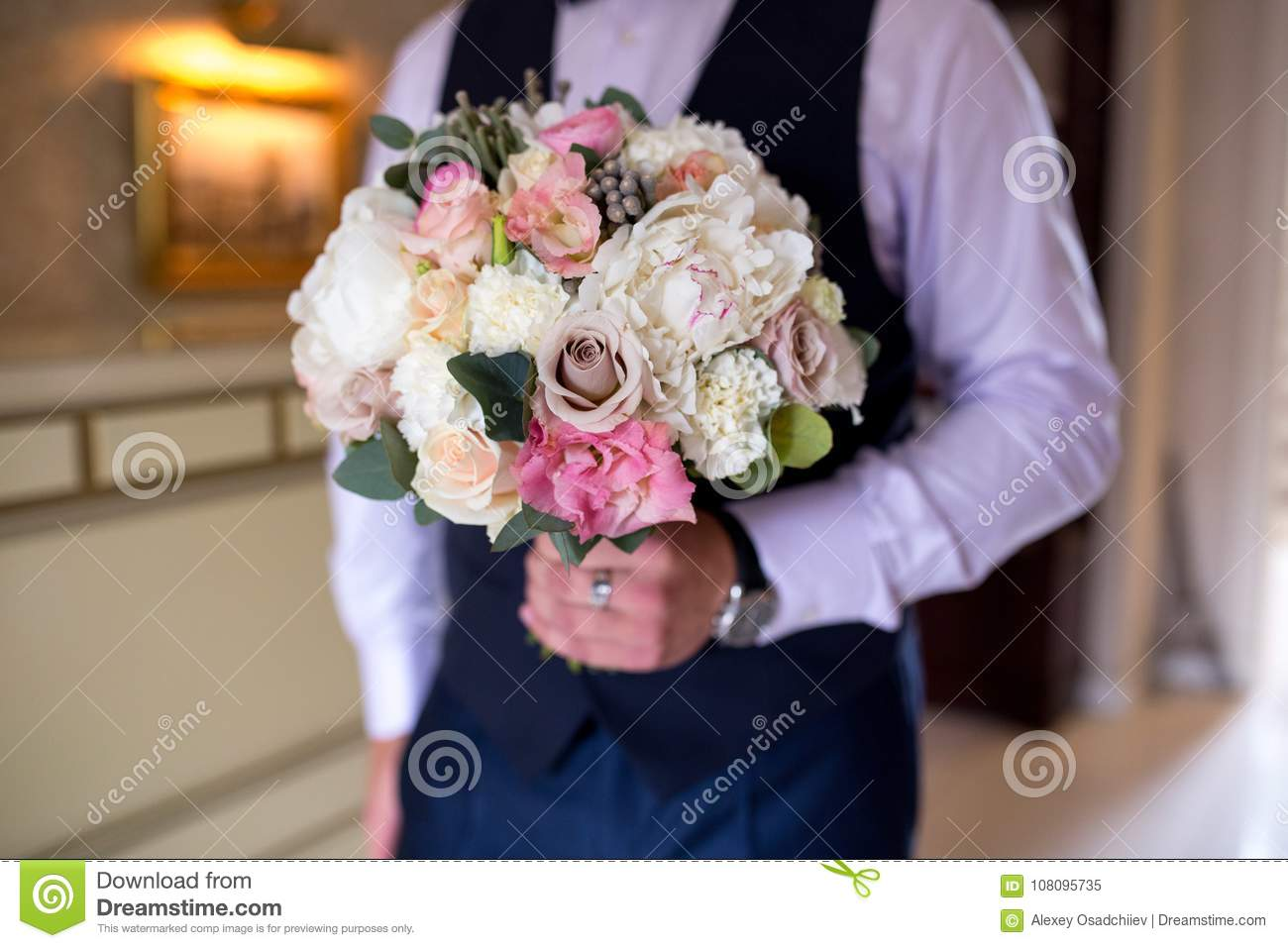 Man with flower bouquet stock image image of couple 108095735 man with flower bouquet izmirmasajfo Gallery