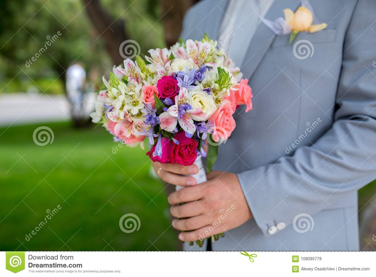Man With Flower Bouquet Stock Photo Image Of Large 108095778