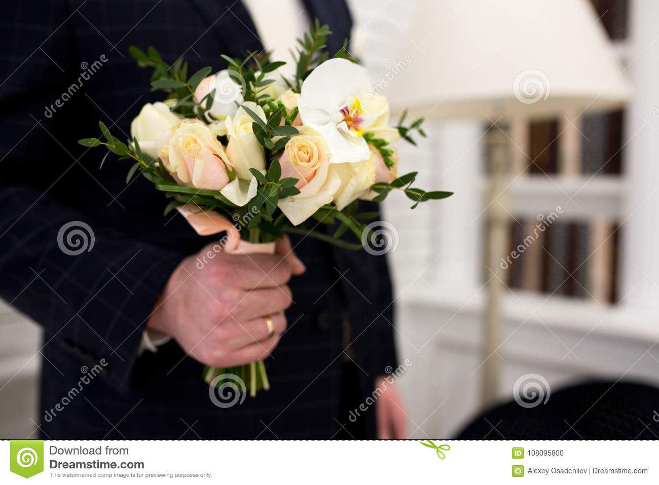 Man with flower bouquet stock photo image of bloom 108095800 man with flower bouquet izmirmasajfo