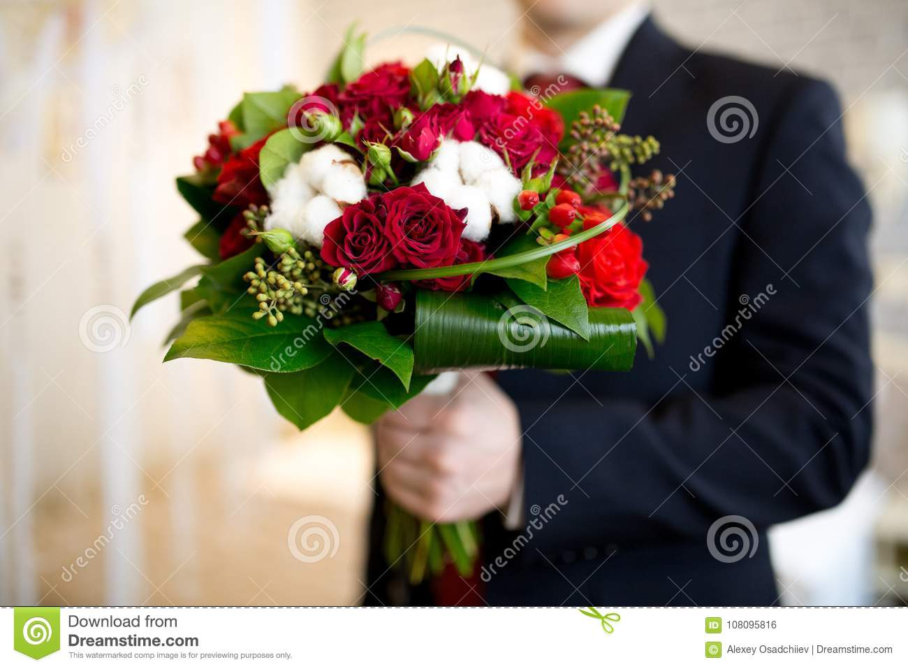 Man With Flower Bouquet Stock Photo Image Of Hand Beautiful
