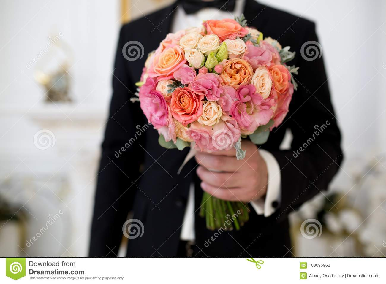 Man with flower bouquet stock photo image of blossom 108095962 man with flower bouquet izmirmasajfo Gallery