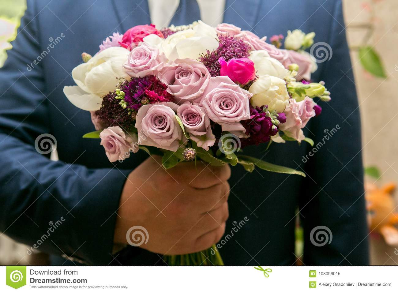 Man With Flower Bouquet Stock Image Image Of Garden 108096015