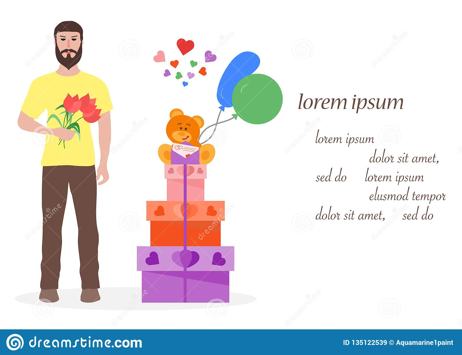 Young Man With Flowers And Gift Boxes Balloons Soft Toy Bear Birthday Valentines Day Mothers Vector Background Design For Greeting Card Banner