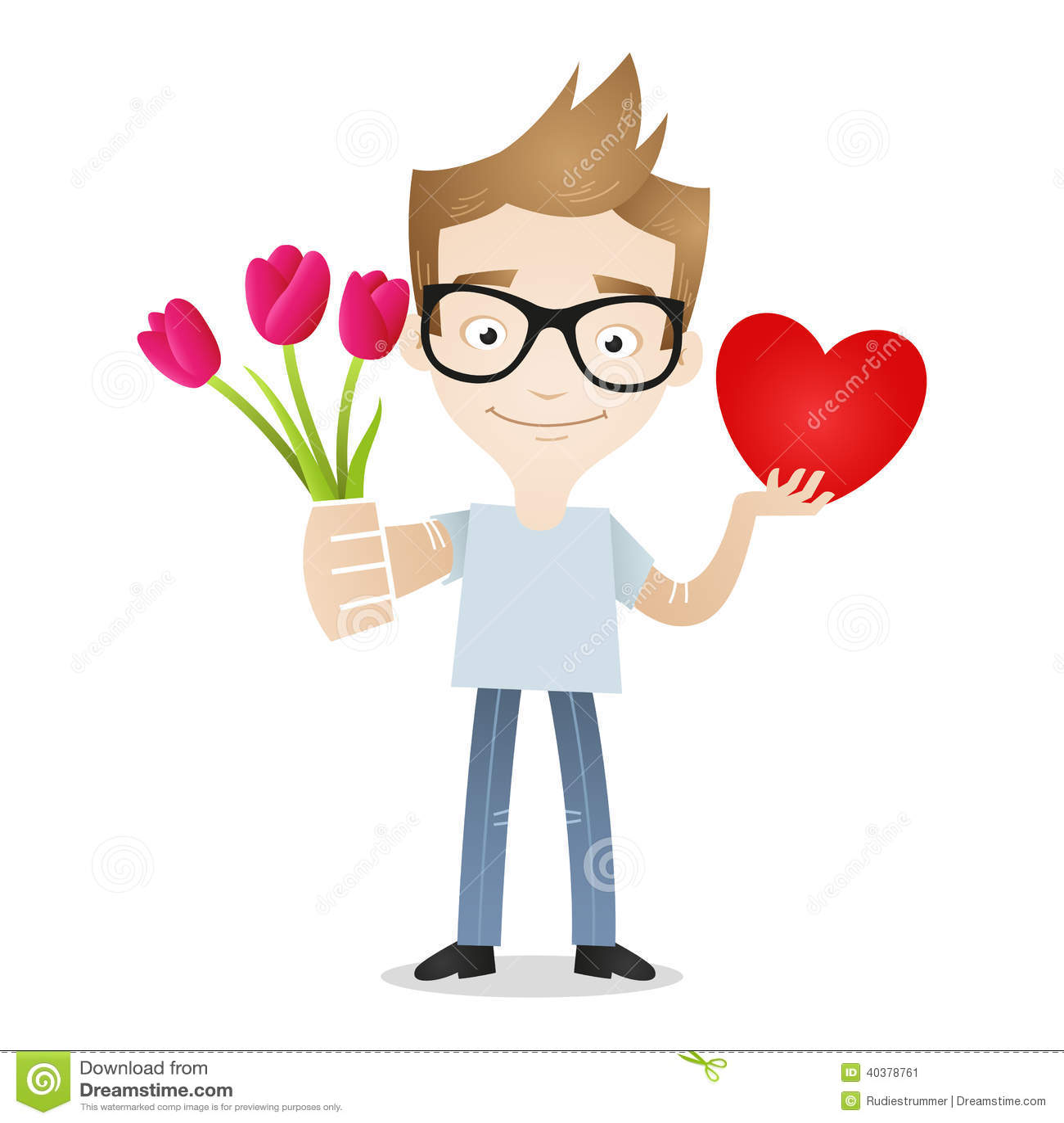 Cartoon Characters Love : Man flowers heart love gift stock vector image