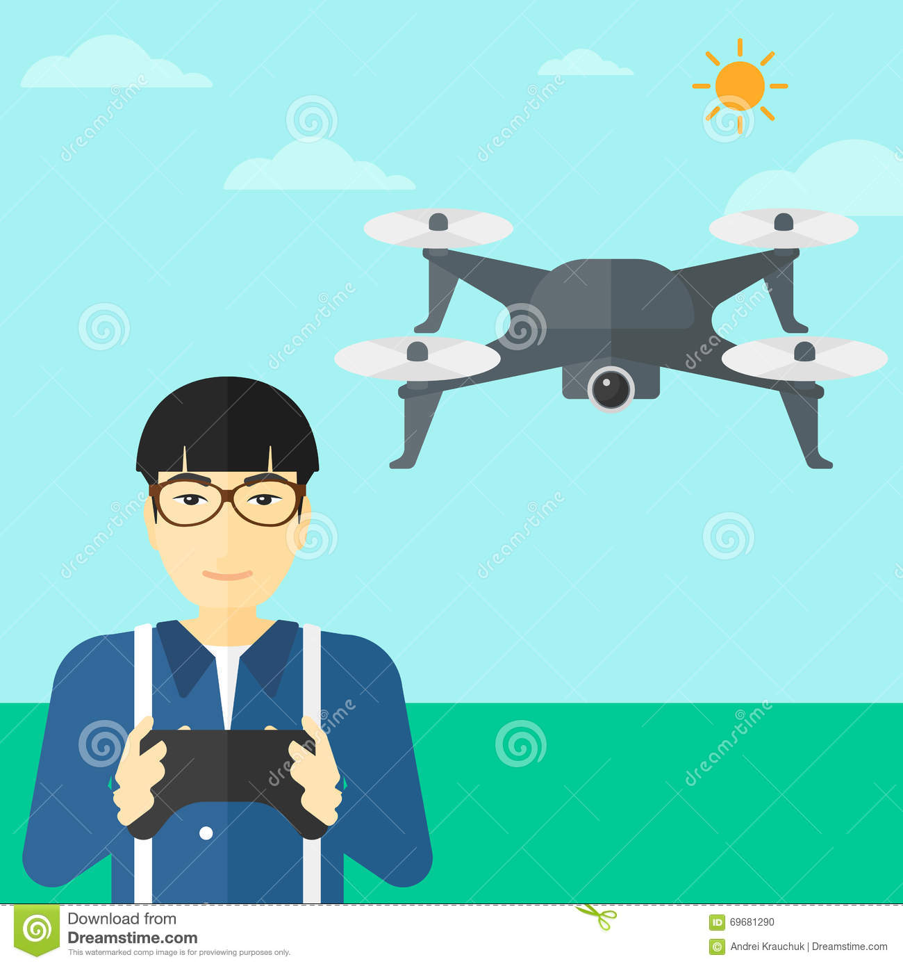 Man Flying Drone Stock Vector Image Of Person Photographer