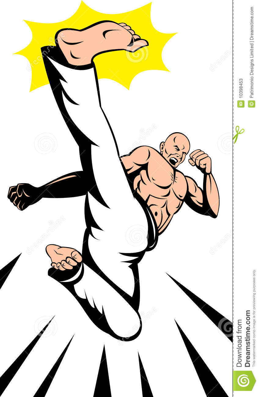 Vector illustration of a Man flying and doing a high karate kick Flying Karate Kick