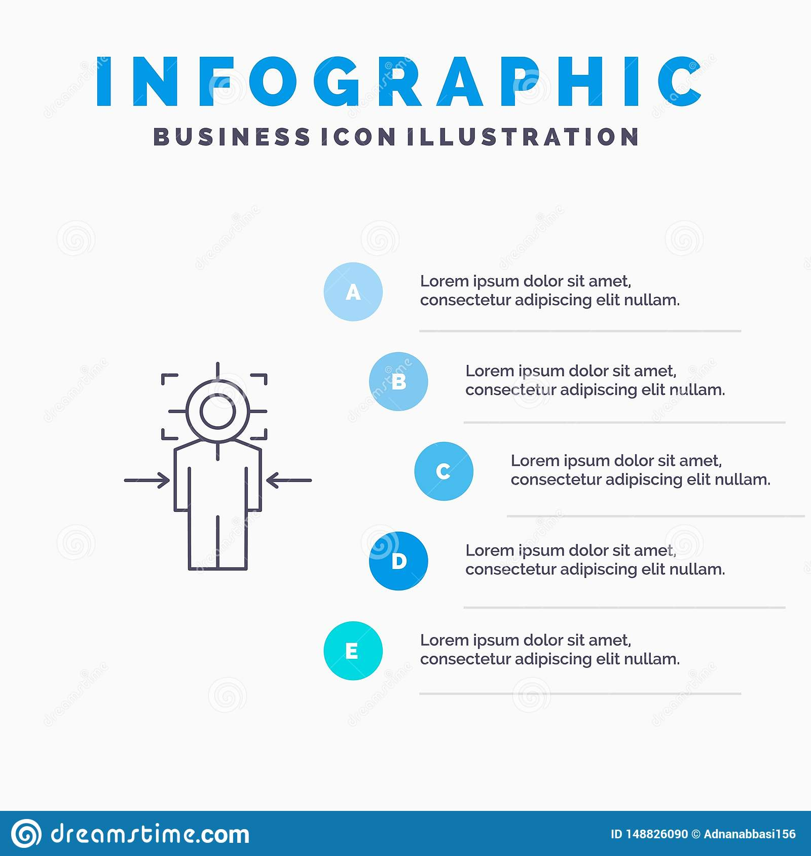 Man, Focus, Target, Achieve, Goal Line icon with 5 steps presentation infographics Background
