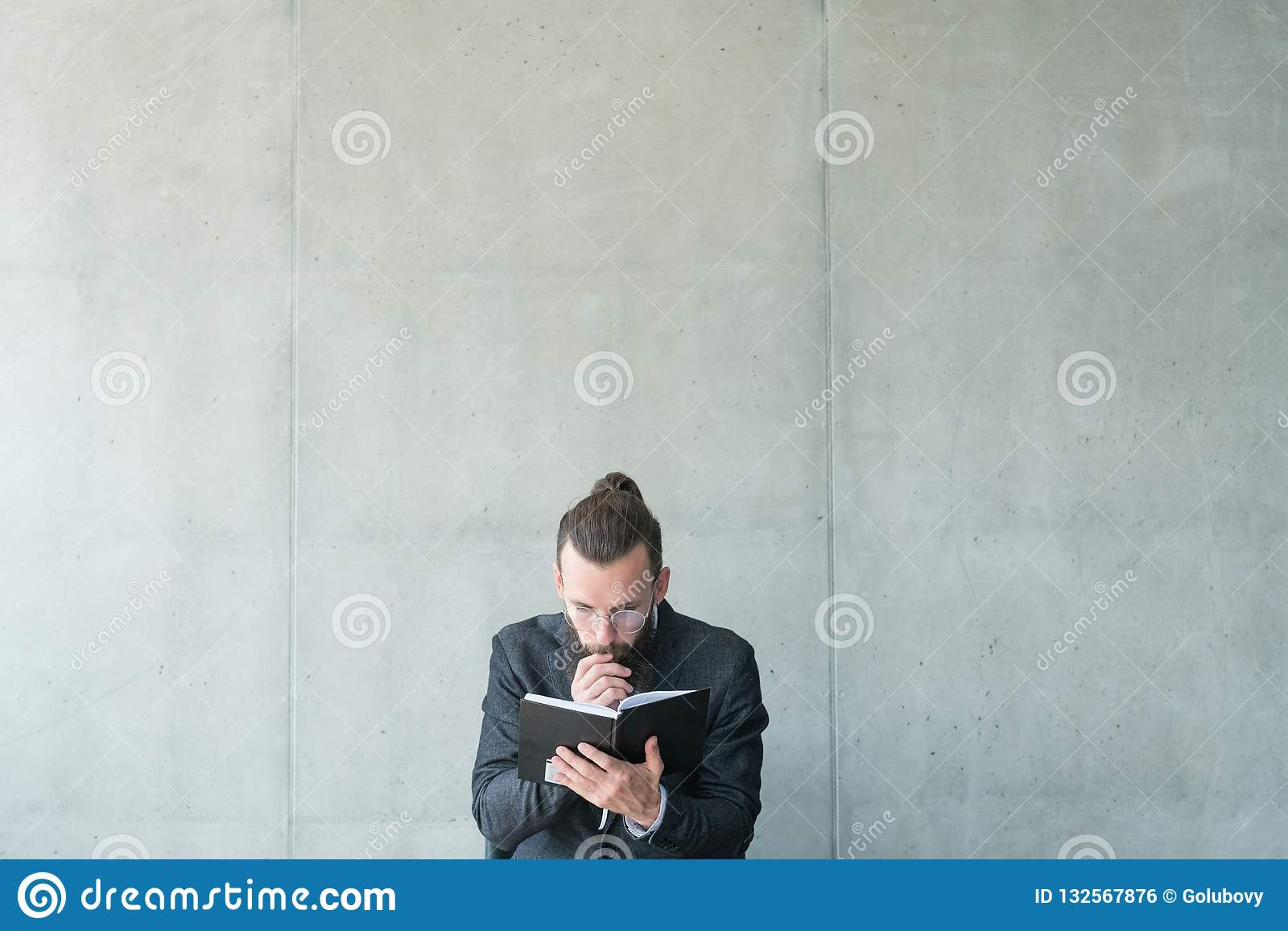 Man focused read education knowledge information
