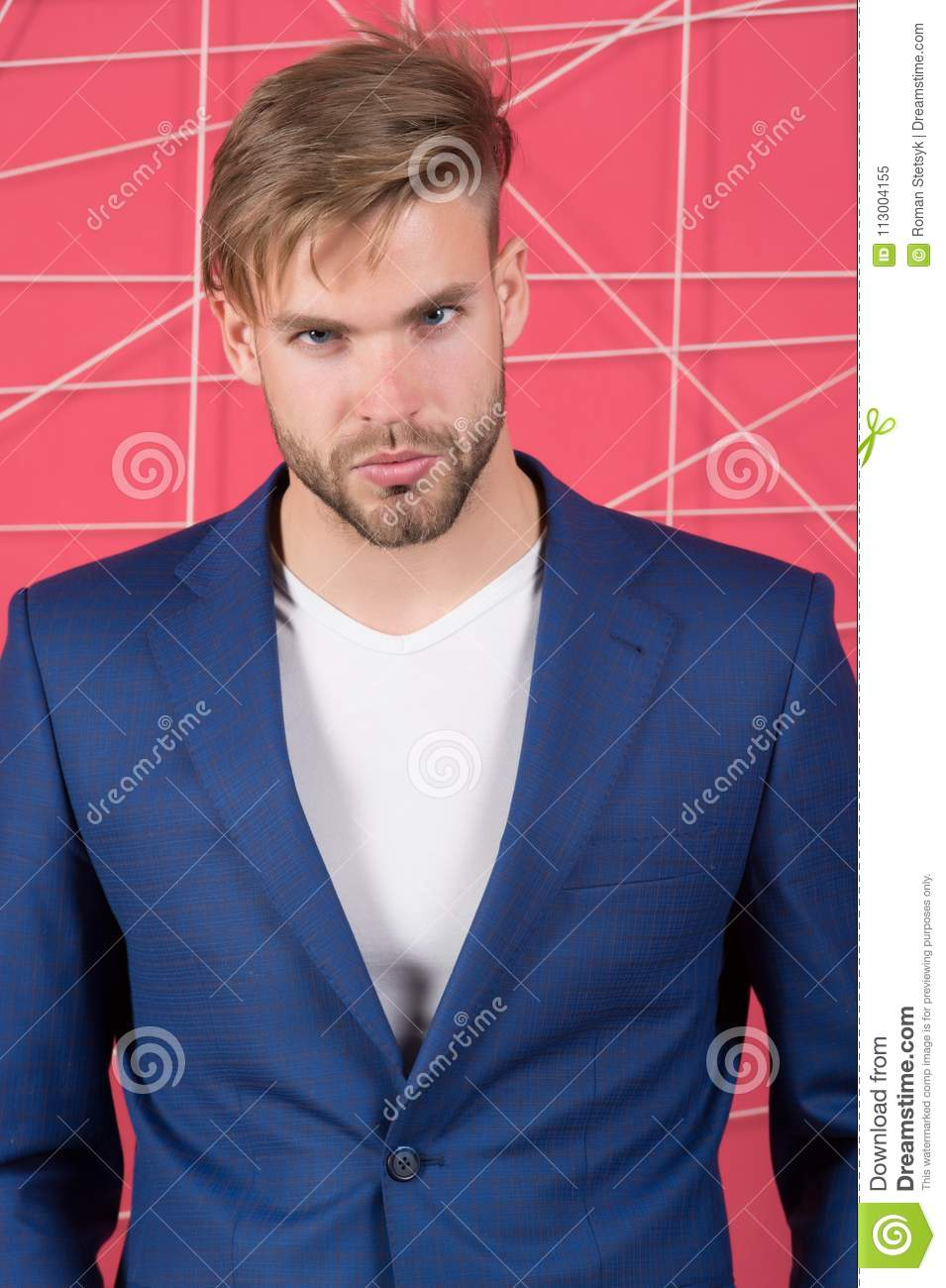 Man In Formal Suit Jacket And Tshirt Fashion Businessman With