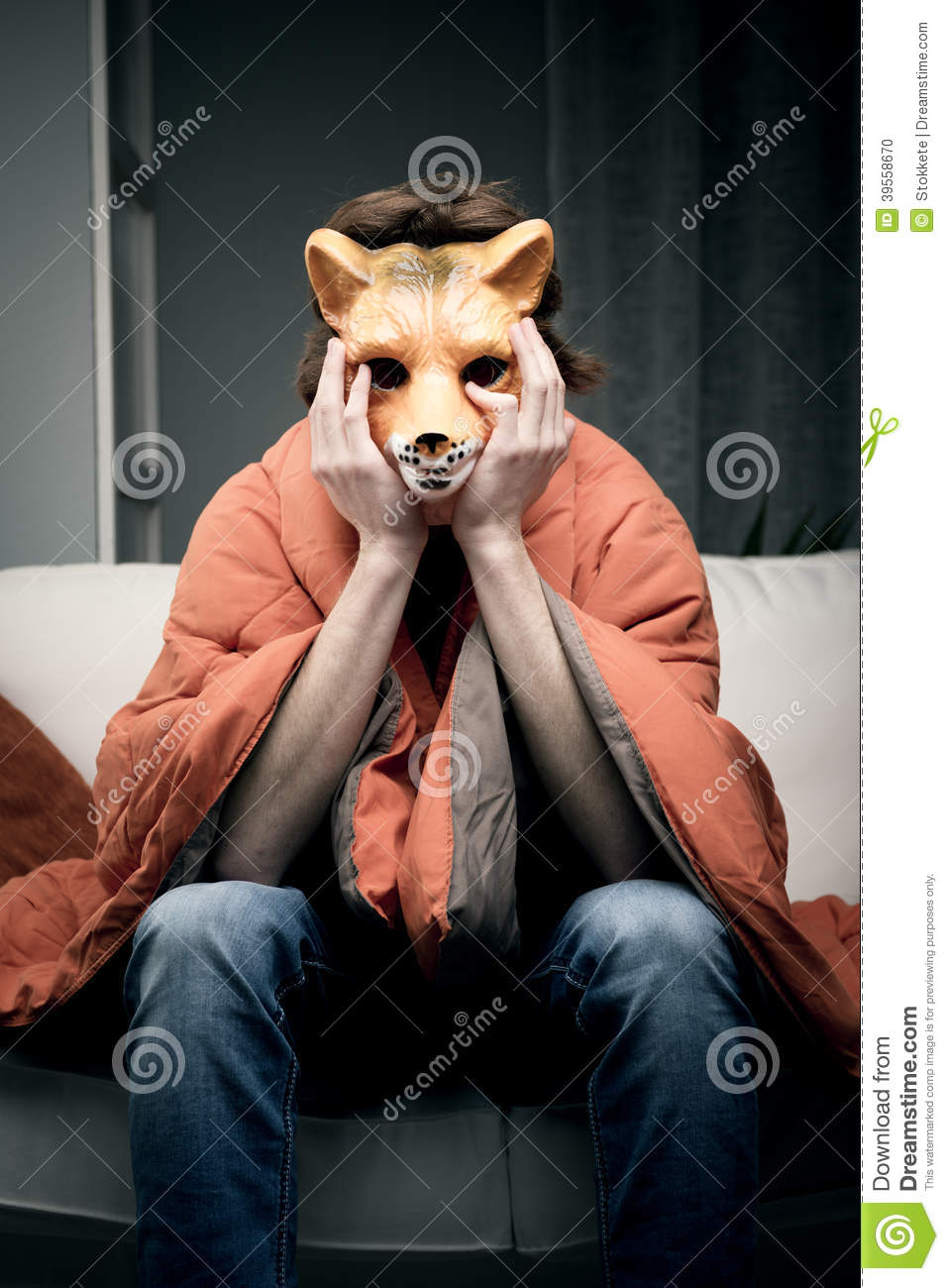 Man With Fox Mask Stock Photo Image Of Costume