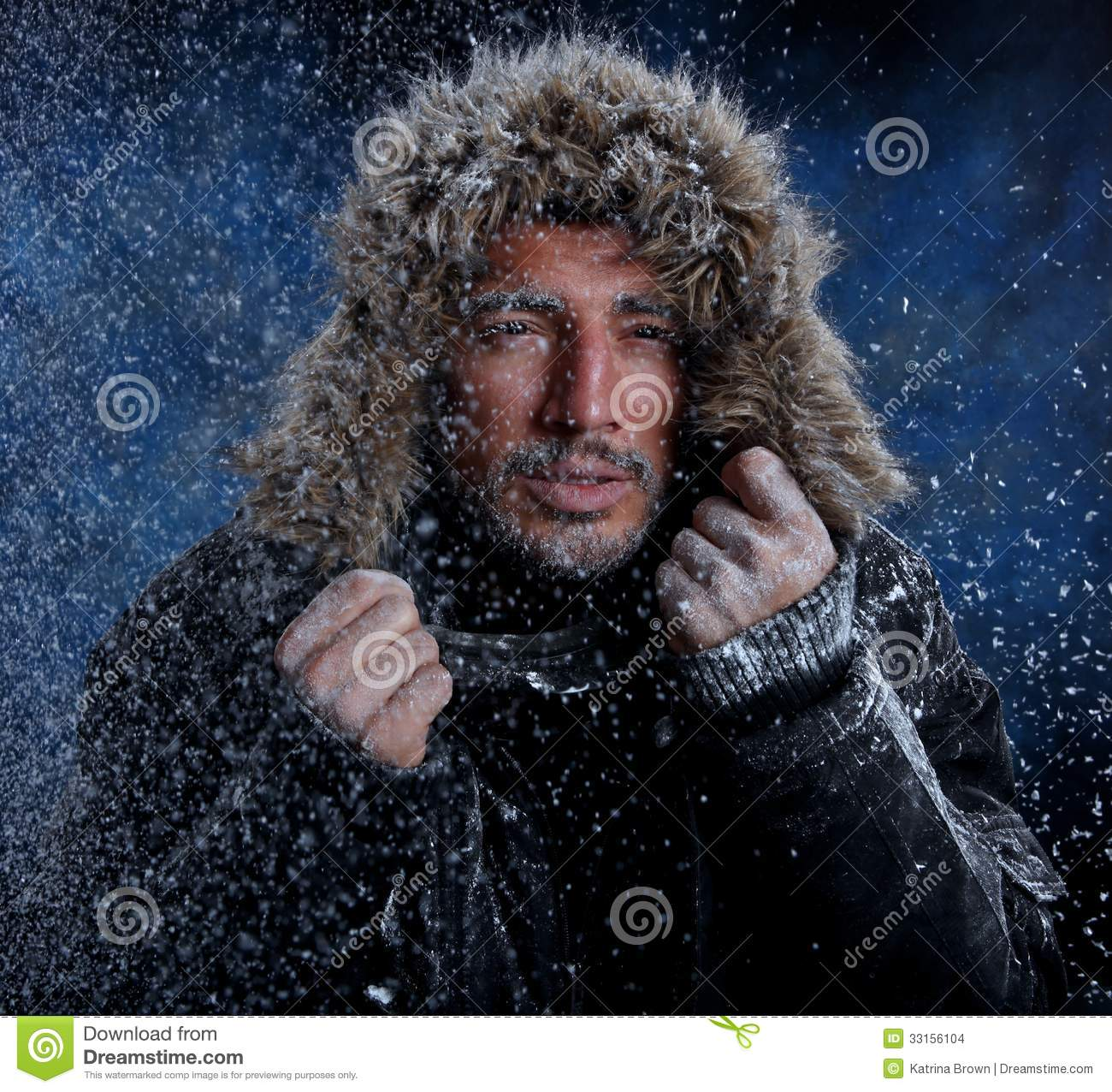 man freezing in cold weather stock images