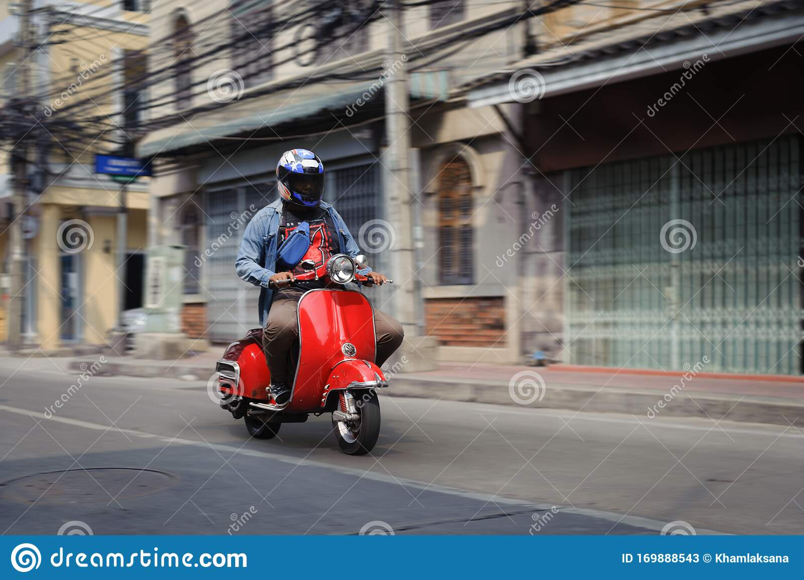 Man In A Full Face Helmet Riding Old Red Scooter Editorial Stock Photo Image Of Face Antique 169888543