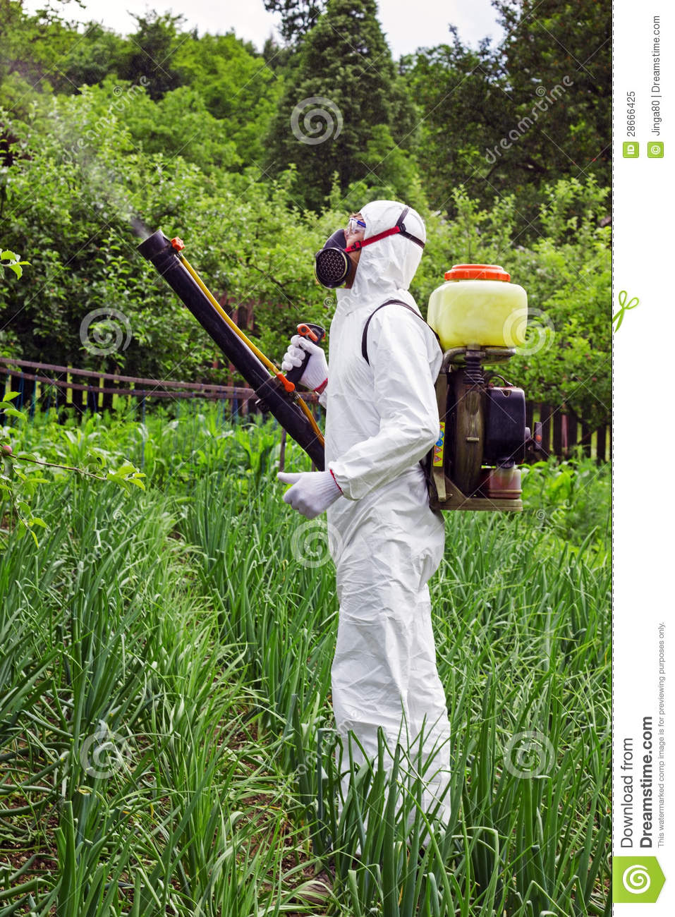 Man In Full Protective Clothing Spraying Chemicals Royalty