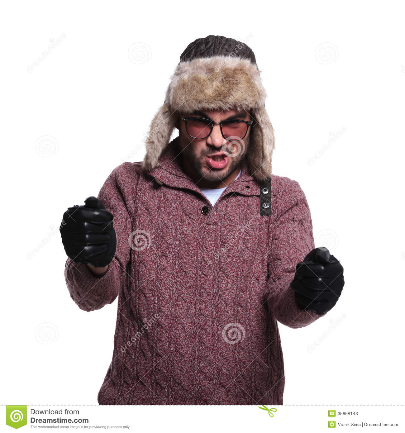 Leather driving gloves from drive - Man In Fur Hat And Leather Gloves Is Driving An Imaginary Race C Stock Photos