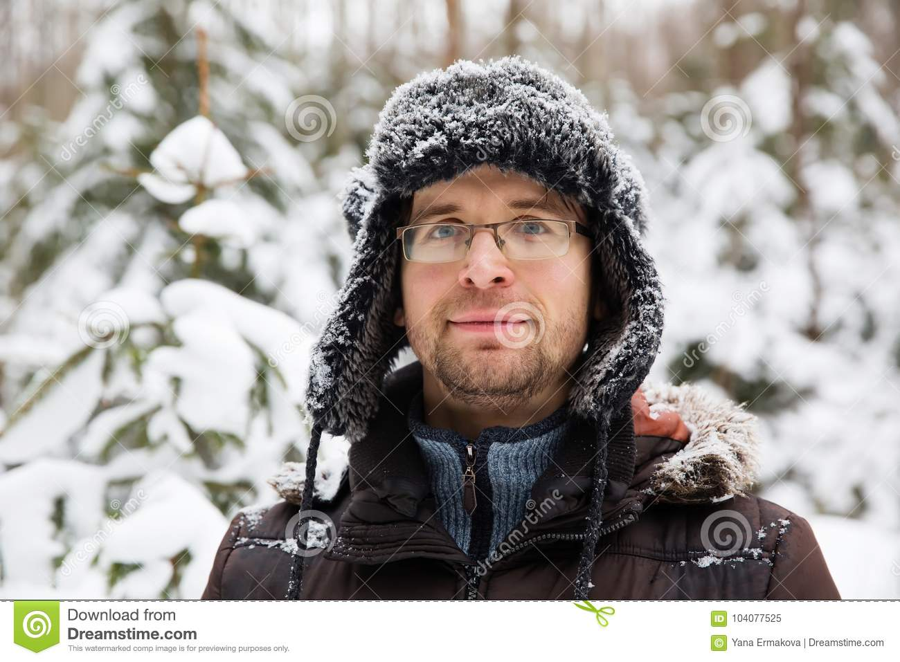 cd0e8482384 Man In Fur Winter Hat With Ear Flaps Smiling Portrait Stock Image ...