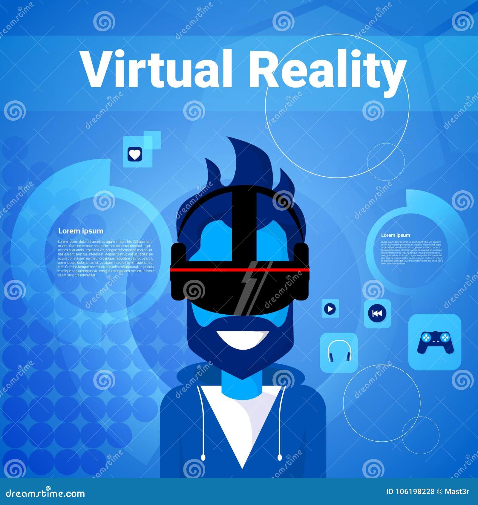 9d88e5cb1e0 Man Gaming Wear Virtual Reality Glasses Modern Vr Goggles Technology Concept