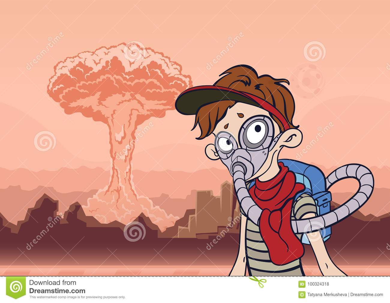 Man in gas mask on a background of barren landscape and a nuclear explosion. Post apocalyptic concept. Vector