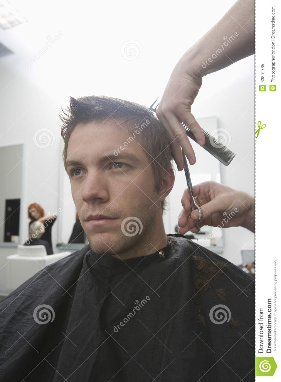 Man getting haircut in hair salon royalty free stock photo for Salon younga