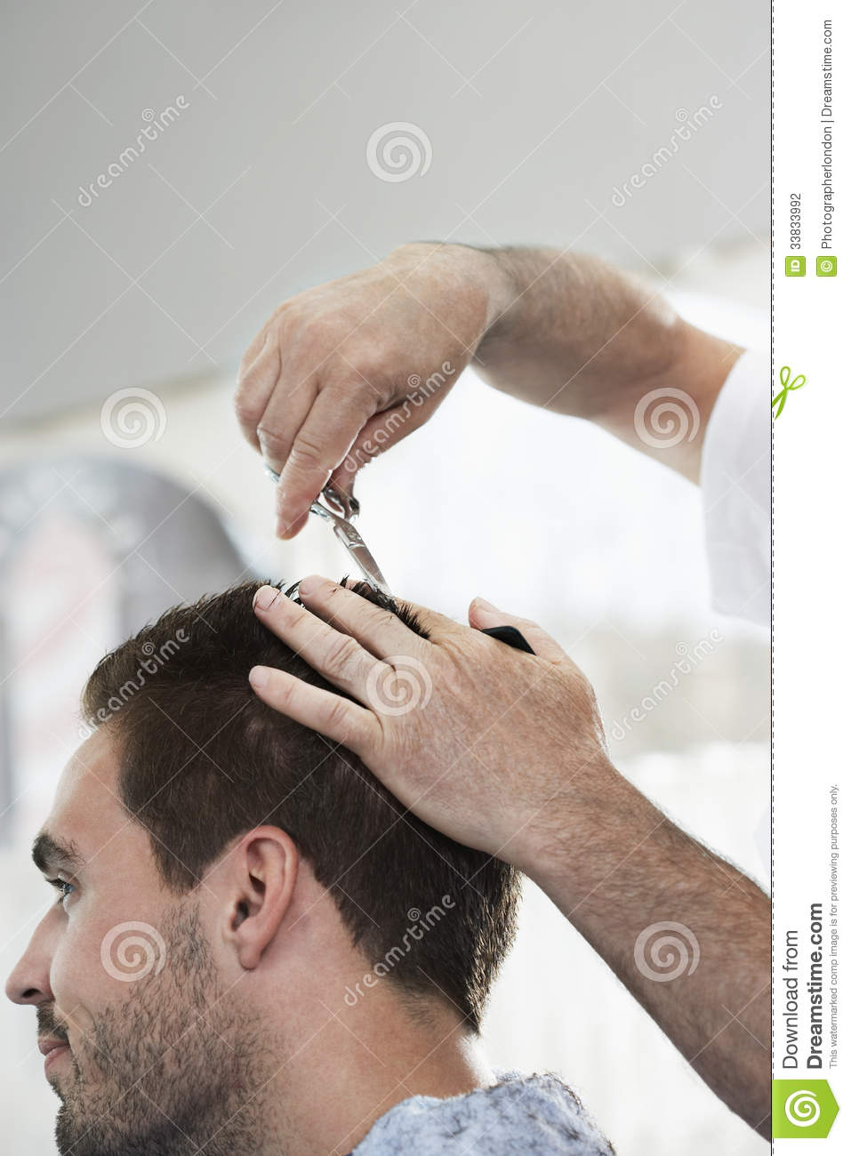 man getting an haircut from hairdresser stock photo image 33833992. Black Bedroom Furniture Sets. Home Design Ideas