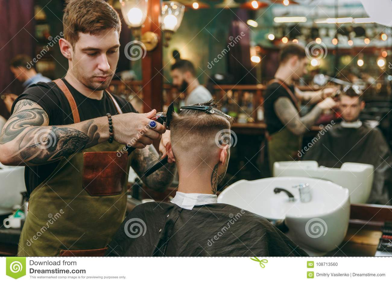 Stylish Men S Hairdresser Barbershop Stock Photo Image Of