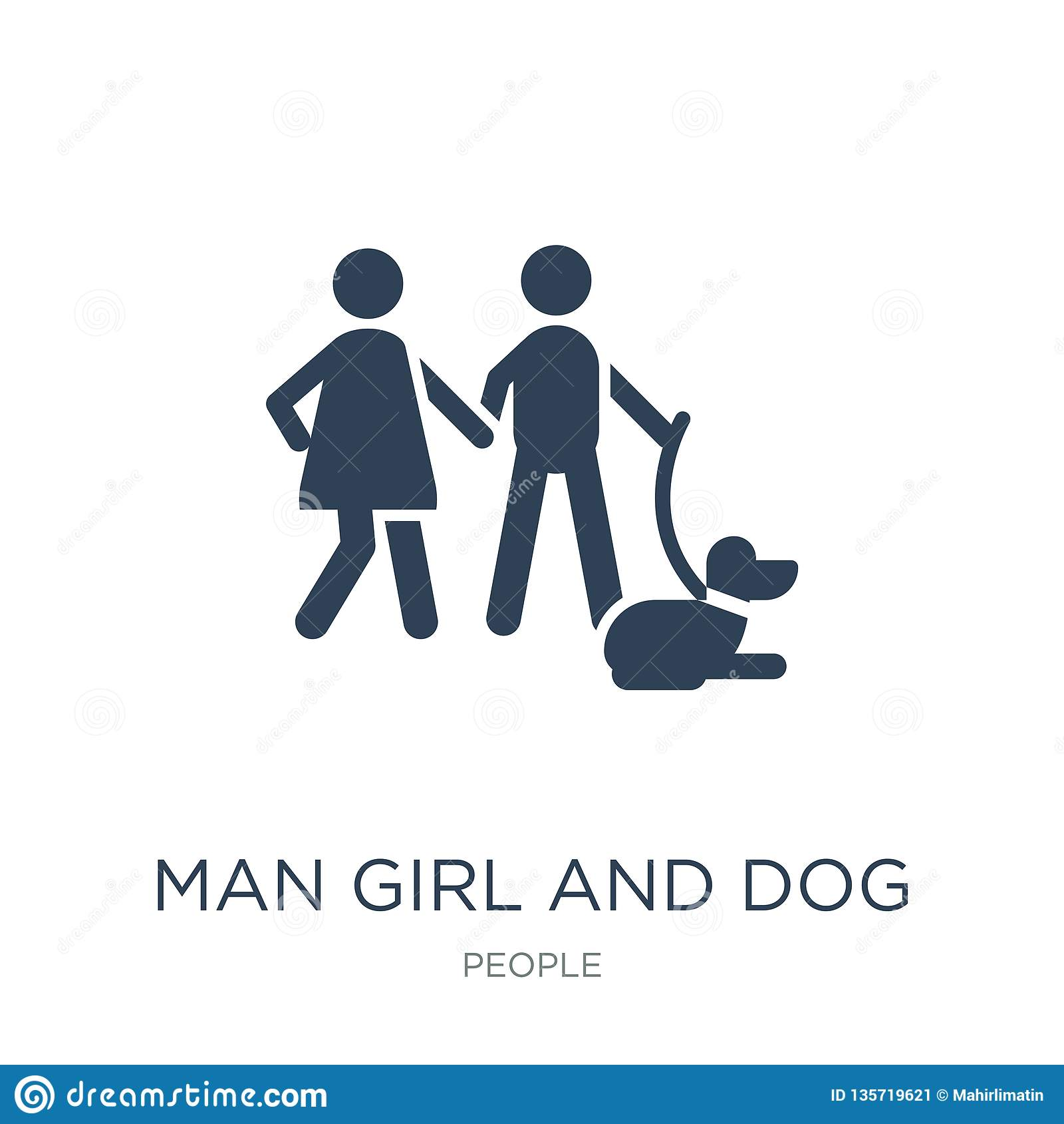man girl and dog icon in trendy design style. man girl and dog icon isolated on white background. man girl and dog vector icon