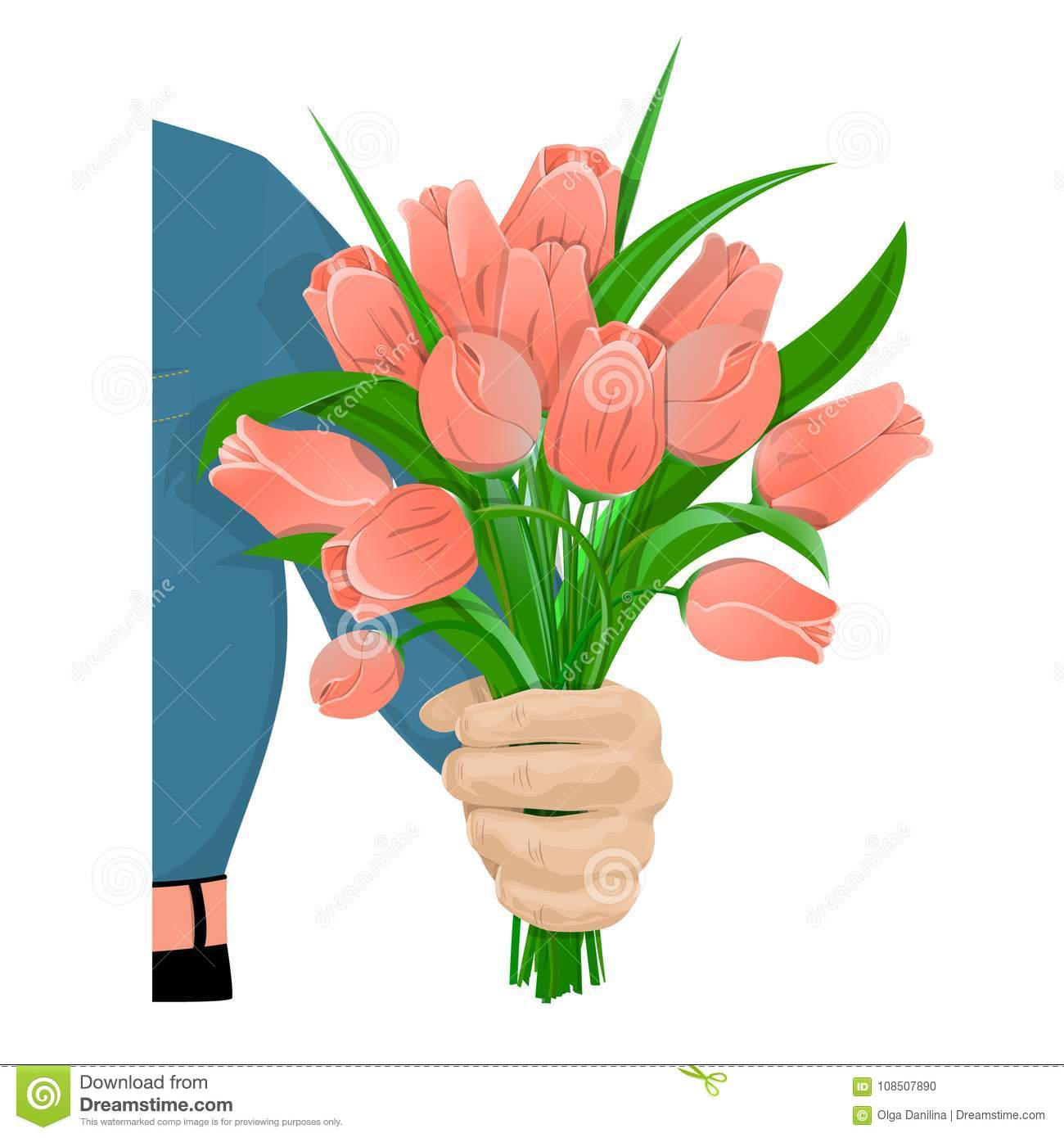 The Man Gives Flowers 01 Stock Vector Illustration Of Hold 108507890