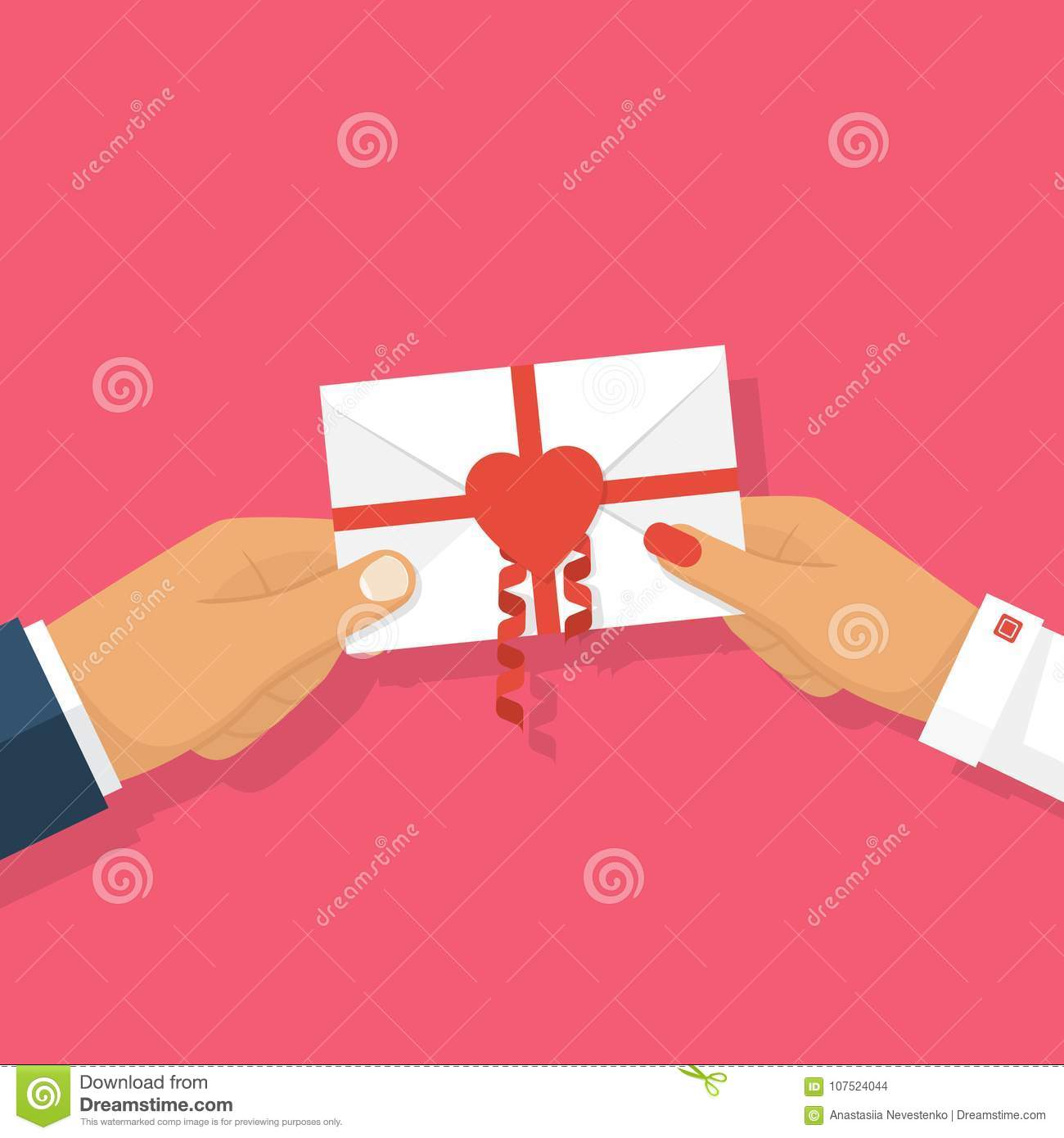 Man Gives Love Letter In Hands Woman  Stock Illustration