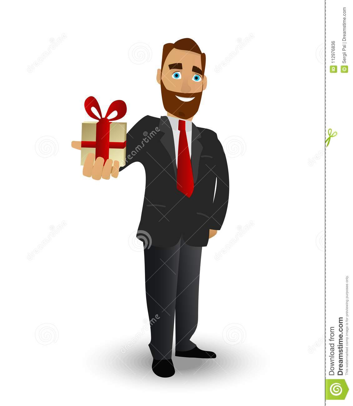Man gives a present tied with a red ribbon for his sweetheart. Vector illustration in classic cartoon style isolated on