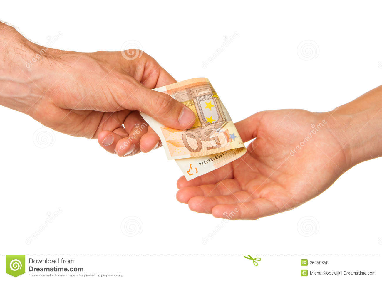 Man giving 50 euro to a woman stock photo image 26359658 for Sessel 50 euro