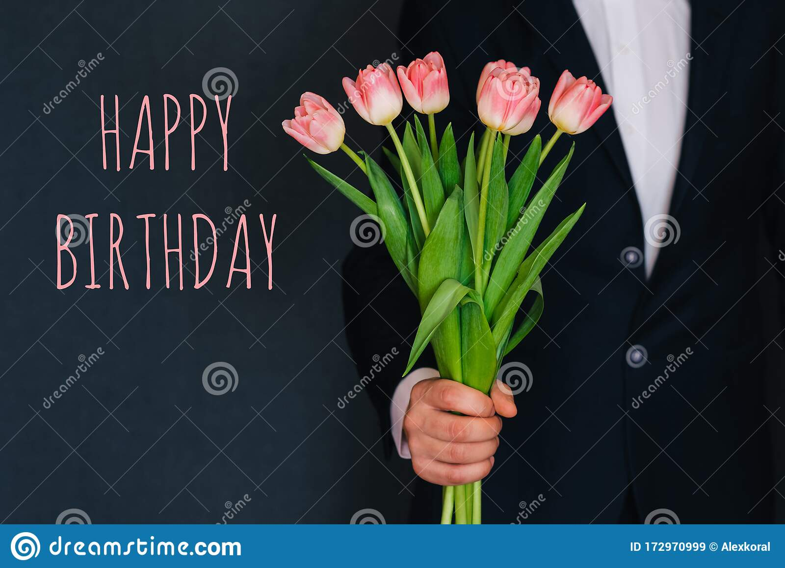 Man Giving A Bouquet Of Pink Flowers Tulips Greeting Card With Text Happy Birthday Stock Image Image Of Pink Fresh 172970999